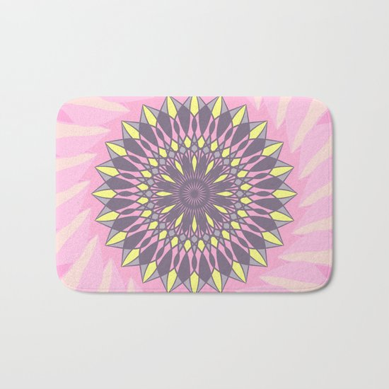 Grey and yellow mandala Bath Mat