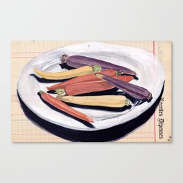 Tri-Color Baby Carrots in Gouache Canvas Print