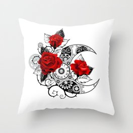 Mechanical Crescent with Red Roses Throw Pillow