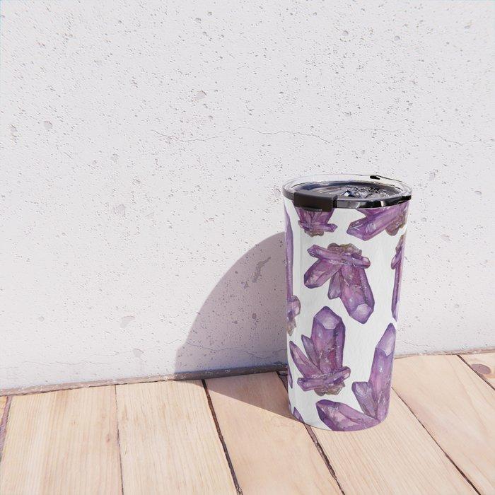 Amethyst Birthstone Watercolor Illustration Travel Mug
