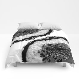 Gray Black White Agate Glitter Glamor #2 #gem #decor #art #society6 Comforters