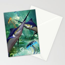 Awesome marlin with jellyfish Stationery Cards