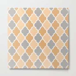 Colorful Quatrefoil Lattice Pattern 132 Grey and Beige Metal Print