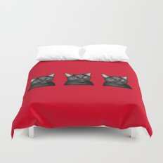 Three Black Cats on Red Duvet Cover