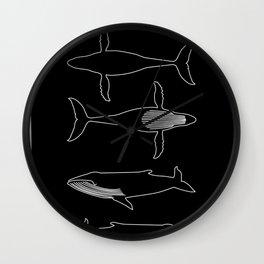 Humpback Whale on black Wall Clock