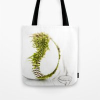 dragon ball Tote Bags featuring Dragon Moss ball baseball by Surface Maximus