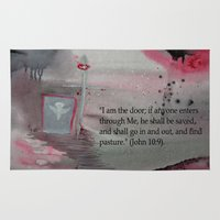 religious Area & Throw Rugs featuring The Door----Religious Abstract Art --- John 10:9 --- by Saribelle Rodriguez by Saribelle Inspirational Art