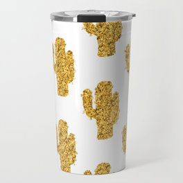 Cactus | Rustic Gold | Southwest Decor Pattern Travel Mug