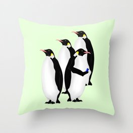 Penguin On A Mobile Device Throw Pillow