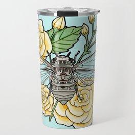 Cicada with Roses - Blue Travel Mug