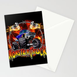 Monster Truck blue on Fire                                          Stationery Cards