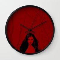 vampire diaries Wall Clocks featuring Vampire Diaries by Tamsin Lucie