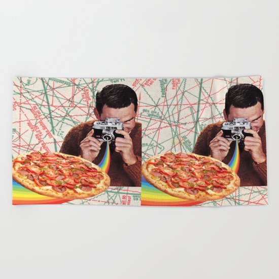 pizza obsession Beach Towel