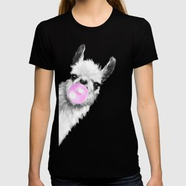 Bubble Gum Sneaky Llama Black and White T-shirt