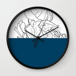 VESSEL - Floral Ink in Peacock - Cooper and Colleen Wall Clock