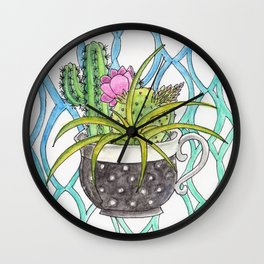 Cup of Cactus Wall Clock