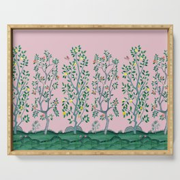 Citrus Grove Chinoiserie Mural in Pink Serving Tray