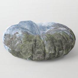 Sentinel Rock, Mist and Trees Floor Pillow
