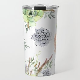 Succulents Mint Green Lavender Lilac Coral Violet Pattern Travel Mug