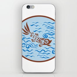 Medieval Fish Swimming Oval Retro iPhone Skin