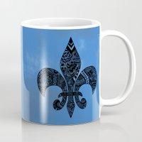 fleur de lis Mugs featuring Blue Fleur de Lis by Riaora Creations