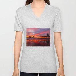 Sunset At The Pier * Huntington Beach, California Unisex V-Neck