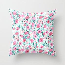 Flower Field Pink Mint Throw Pillow