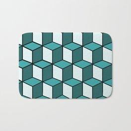Green and White Cubes Bath Mat