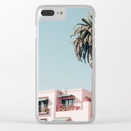 Pink Building Downtown Santa Monica California Clear iPhone Case