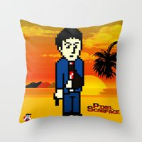 scarface Throw Pillows featuring Pixel Scarface by Rapsmyinitials