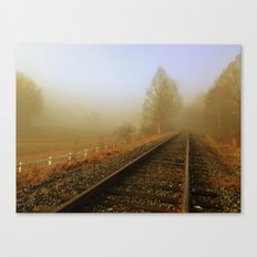 Foggy Rail Road Canvas Print