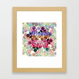 Pink and indigo flower pattern Framed Art Print