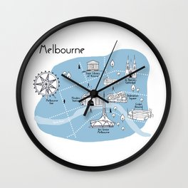 Mapping Melbourne - Blue Wall Clock