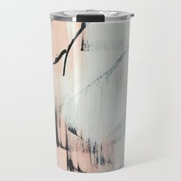 Sweet Tart: a minimal abstract mixed-media piece in pink black and white by Alyssa Hamilton Art Travel Mug