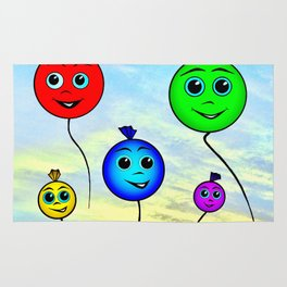 Happy colorful balloons flying in the sky Rug