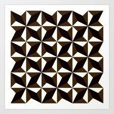 Black brown tile pattern #1 Art Print