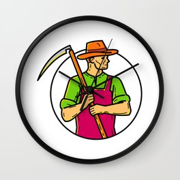 Organic Farmer Scythe Mono Line Art Wall Clock