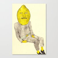 lemongrab Canvas Prints featuring Lemongrab by withapencilinhand