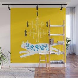 Folk cat on yellow Wall Mural