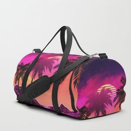 Pink vaporwave landscape with rocks and palms Duffle Bag