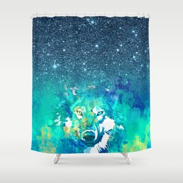 Cool teal green watercolor wolf blue glitter gradient Shower Curtain