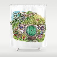 the hobbit Shower Curtains featuring Hobbit hole by Kris-Tea Books