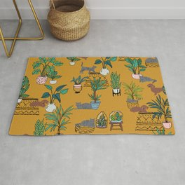 Houseplants dogs and cats quirky cute conversational Rug