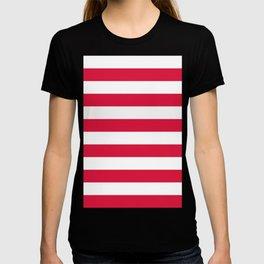 Horizontal Stripes - White and Crimson Red T-shirt