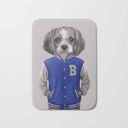 dog boy portrait Bath Mat