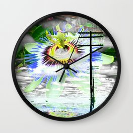High Voltage on passionflower Wall Clock