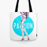 passion Tote Bags featuring Passion by victor calahan