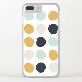 Tinsley - painted dots polka dots minimalist decor nursery gold navy Clear iPhone Case
