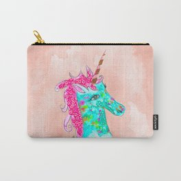 Unicorn on Peach watercolour Carry-All Pouch