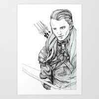 legolas Art Prints featuring Legolas by Margret Stewart